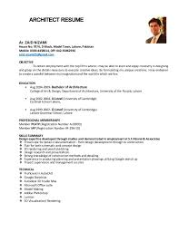 Mobile Architect Resume Architect Resume Zaid Nizami June 2015