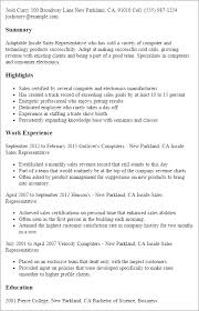 Resume Samples For Sales Representative by Professional Inside Sales Representative Templates To Showcase