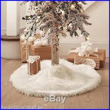tree skirt white accent rug throw wrap collar shaggy faux fur