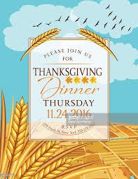 fall farm scene with thanksgiving dinner invitation template