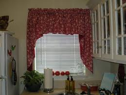 Black And Red Kitchen Curtains by Red Kitchen Curtains With Floral Pattern Ideas And White Wall