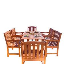 vifah malibu 7 piece wood rectangle outdoor dining set v187set27