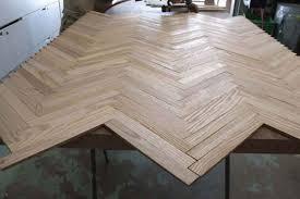 before after herringbone wood dining table design sponge