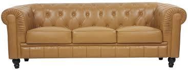 Benjamin Sofa Benjamin Classical 3 Seater Pu Leather Sofa In Cognac Furniture