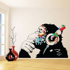 Banksy Vinyl Wall Decal Monkey With Headphones  Colorful Chimp - Wall graphic designs