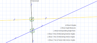 Definition Of Interior Angles Exploring Parallel Lines Cut By A Transversal Geogebra