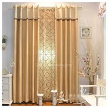 Side Panel Curtains Yellow Panel Decorated Flocking Blackout Side Panel Curtains