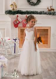 2016 Little White Flower Girls Dresses Crew Lace Kids Wedding