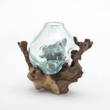 hand blown molten glass and teak wood root sculptured terrarium