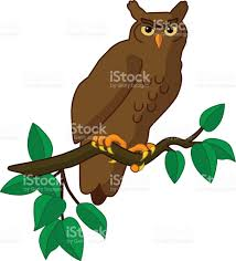 vector great horned owl perched on tree branch in color stock