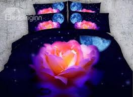 Stars Duvet Cover 3d Colorful Rose With Moon Stars Printed Cotton 4 Piece Bedding
