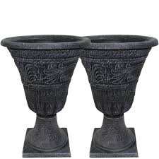Southern Patio Southern Patio Tumbled Scroll 16 In Weathered Black Urn Pack 2
