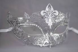 metal masquerade mask silver grey laser cut metal masquerade mask for