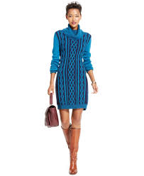 Tommy Hilfiger Cable Knit Cowl Neck Sweaterdress In Blue Lyst