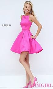 pink dresses fit and flare sherri hill dress promgirl