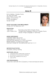 Sample Resume For Hotel Jobs by Sample Resume For Housekeeping Job In Hotel Resume For Your Job