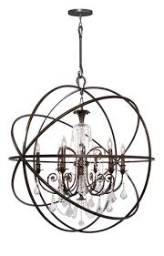 Sphere Chandelier With Crystals Crystorama Solaris 6 Light Elements Bronze Sphere