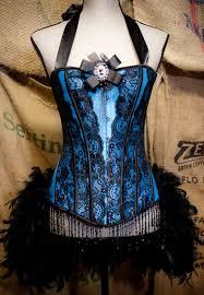 marie antoinette corset burlesque costume black blue steampunk