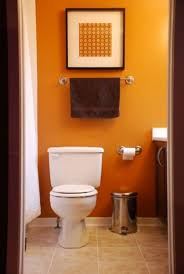 bathroom orange coupled with wood in dark stain in the vivacious