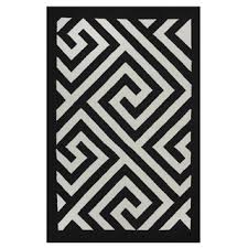 Black White Area Rug Indo Woven Broadway White Black Modern Geometric Area Rug 5