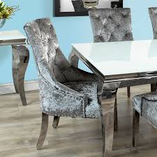 glass chrome dining table fadenza white glass dining table and 6 silver chairs with knocker