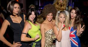 west hollywood halloween party nina dobrev dresses as posh spice for early halloween party
