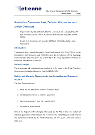 australian consumer law defects warranties and unfair contracts bas u2026