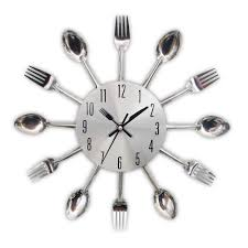 kitchen wall clocks bekith 12inch aluminium wall clock vinyl itchen skillet new modern kitchen wall clock sliver cutlery clocks spoon fork creative wall stickers mechanism