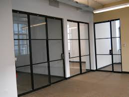 office interior design with glass room partition walls and f