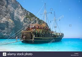 pirate ship at shipwreck beach on zakynthos greece stock photo