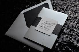 Black Wedding Invitations Pocket Fold Wedding Invitation Silver And Black Glitter Wedding