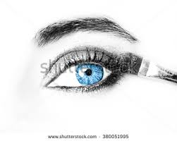 watercolor pen ink hand sketched eye stock illustration 45682597