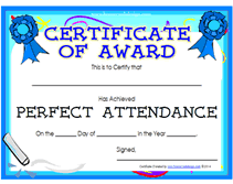 printable perfect attendance awards certificates templates
