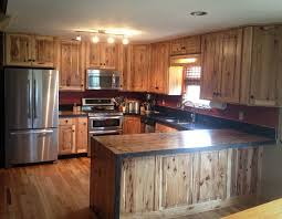 Rustic Hickory Kitchen Cabinets Kitchen Reface Hickory Boxcar Countertops Rustic Kitchen