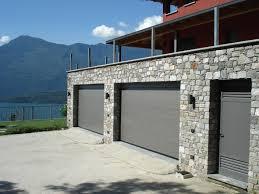 Home Exterior Design Stone Stylish Sectional Overhead Grey Garage Door For Stone Facade