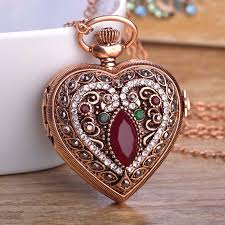 necklace with watch pendant images Turkish heart resin pocket watch pendant necklace for women man jpg