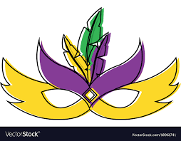 mardi gras feathers ornate mardi gras carnival mask with feathers vector image