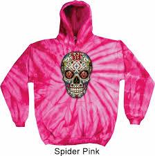 mens skull hoodie sugar skull with roses tie dye hoody sugar