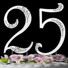 25 cake topper 25th anniversary or birthday accented cake top sparkle