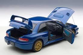 subaru impreza wrx initial d autoart 1 18 subaru impreza 22b blue upgraded version 78602