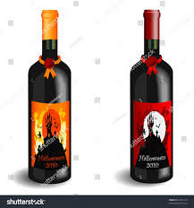 vector illustration 2 wine bottles halloween stock vector 63141193