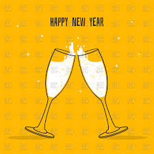 champagne glasses clipart orange happy new year card two glasses of champagne vector