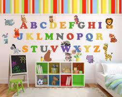 Abc Nursery Decor Jungle Alphabet Etsy