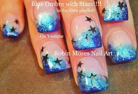 easy ombre short nail art design glitter and stars nails