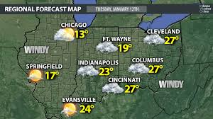 Map Of Indiana And Ohio by Forecast Map For Tuesday January 12th 2015 U2013 Indianaweatheronline