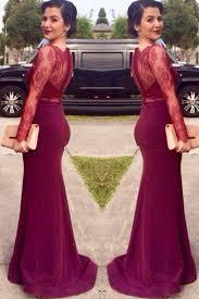 elegant sheath scoop long lace burgundy prom evening dress with