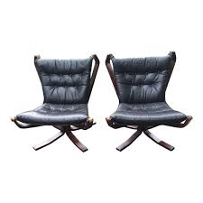 Black Leather Chairs For Sale Black Leather Falcon Chair By Sigurd Ressell Set Of 2 For Sale At