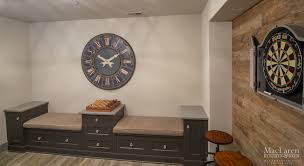 bench seating area for basement game room u2013 maclaren kitchen and bath