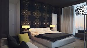 home design interior minimalist gray white bedroom accent wall