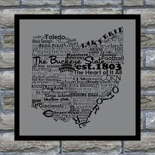 Map Ohio State by Ohio State Word Art Typography Print The Buckeye State Modern